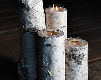 Birch Candle Holders (Set of 4)