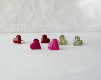 Tiny heart earring set- Red, Fuschia littery Gold post set- Valentines day gift idea- Romantic earring pack