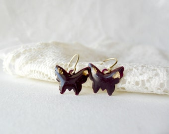 Purple Butterfly with gold flake earrings- Delicate dangle earrings- Amethyst gold earrings