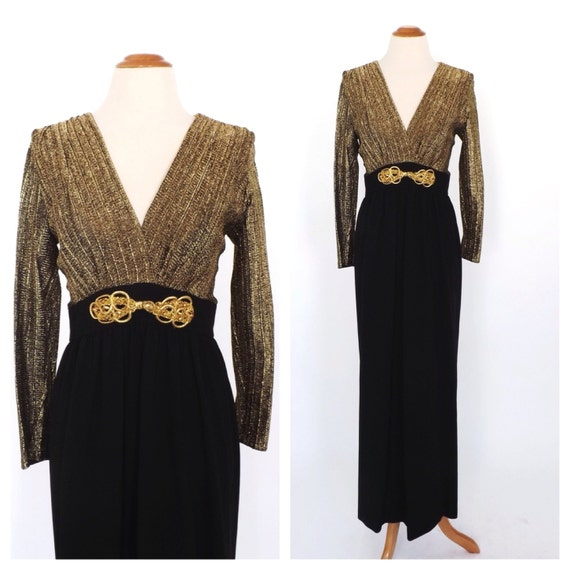 Vintage 1960s 1970s Diva Gown Metallic Gold By Alicksandraflin