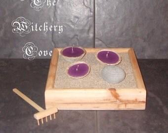 Handmade miniature Zen Garden Shell Candles with handmade meditation Rake Pebble & Sand No.4