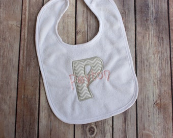 Monogrammed Baby Girl Chevron Bib - Personalized Girl Bib - Appliqued Bib