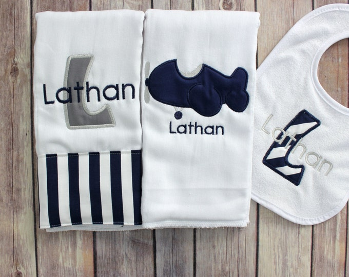 Personalized Airplane Baby Boy Burp Cloth Bib Set - Monogram Baby Boy Airplane Gift Set - Baby Boy Shower Gift - Airplane Baby Gift