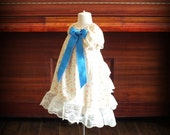 Cream Ditsy Floral Lace Ruffle Back Dress by Steady As She Goes baby girl 12 18 24 mo 2T 3T ivory pink blue flower girl vintage party Easter