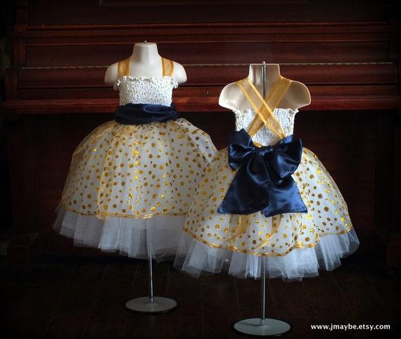 Navy Blue and Gold Flower Girl Dresses