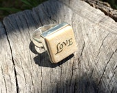 Sterling Silver Jerusalem Stone Unique Ring; A Golden Word Love Engraved on the Stone. Wife, Girlfriend, Mother. Pin it if you like it!
