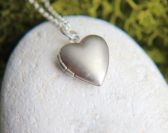Locket Necklace, Locket Pendant, Tiny Locket Necklace, Silver Heart Locket, Little Heart Locket Necklace, Sterling Silver chain, Locket