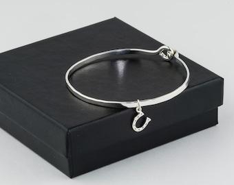 Horsehoe Bracelet, Charm Bracelet Sterling Silver, Horseshoe Jewelry, Lucky Charm Bracelet, Charm Bangle Bracelet, Good Luck Charm Bracelet