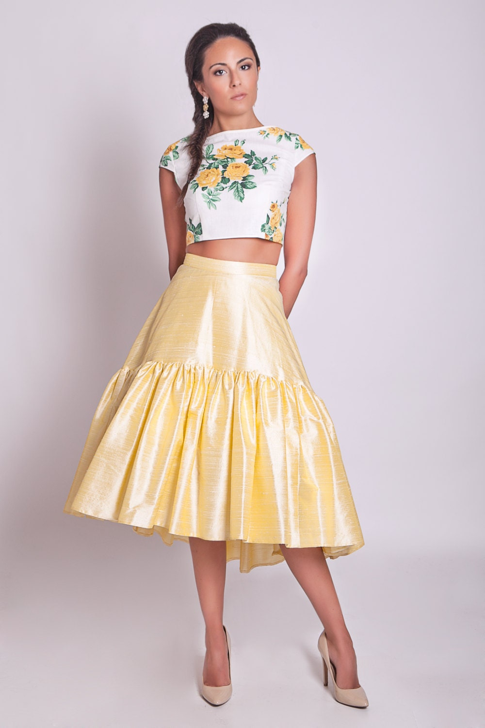 50s style high low skirt 50s skirt hi lo skirt yellow