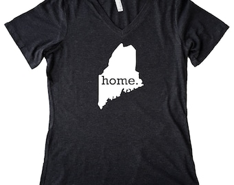 V Neck Maine Home State T-Shirt Women's Triblend Tee - Sizes S-XXL