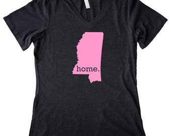 V Neck Mississippi Home State T-Shirt Women's PINK EDITION Triblend Tee - Sizes S-XXL
