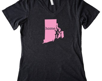 V Neck Rhode Island Home State T-Shirt Women's PINK EDITION Triblend Tee - Sizes S-XXL