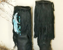 Custom Handmade Fringed Moccasins - Tall Moccasins - Native American Styled Moccasins- Hunting Moccasins