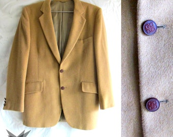 Vintage 1970's Givenchy Gentleman Dorman Winthrop Camel Wool Blazer Suit Jacket Size Medium