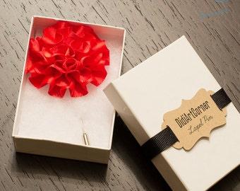 Red Flower Lapel Pin - Red Carnation Lapel Pin, Men's Lapel Pin