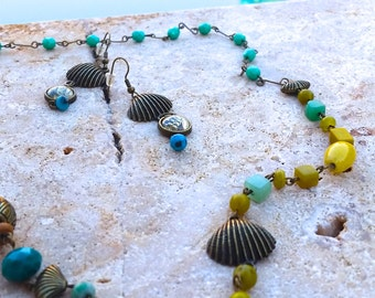 """25"""" Antique Brass Nautical Necklace and Earring Set"""