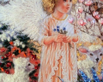 "picture ""Angel "",  hand  silk ribbon embroidery 3D effect,stumpwork,ribbonwork,childrens room"