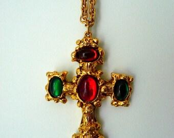 Vintage filigree cross necklace. Golden cross pendant