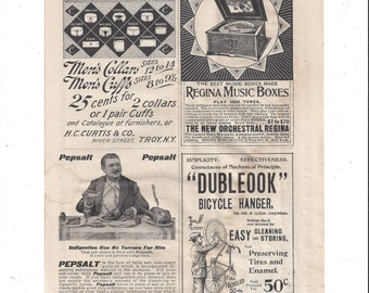 1898 Munsey's Magazine Advertising Page for Regina Music Boxes, Bicycle Hanger, Pepsalt, Men's Collar, Black and White by Victorian Wardrobe
