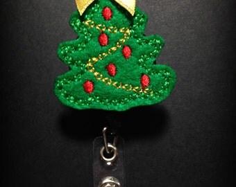 Christmas Tree Badge Reel- Holiday Badge Clip- Christmas ID Badge- ID Holder- Winter Badge Holder