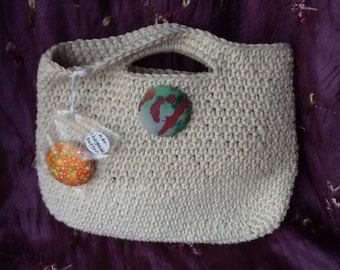 Clearance Sale: Crochet Bag, Purse, with Interchangeable Fabric Buttons FREE SHIPPING!