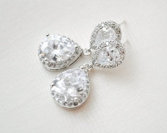Crystal Bridal Earrings, Teardrop Wedding Earrings, CZ Earrings, Wedding Jewelry