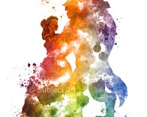 Belle, Beauty and the Beast, Ballroom Dance ART PRINT illustration, Disney, Princess, Mixed Media, Home Decor, Nursery, Kid