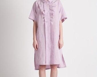 40% Season Off_Blue Moon Linen Loose Fitting Shirts Dress_Lilac Pink