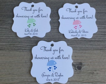 """20 Personalized Baby Shower Favor Tags, 1.75"""" - Baby Showers, Gender Reveal Parties, Favor Tags, Thank You Tags - Choose Your Color"""