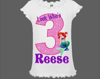 Little Mermaid Birthday Shirt - Princess Ariel Birthday Shirt