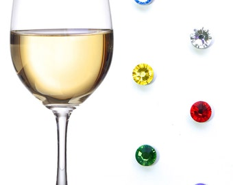 Swarovski Crystal Magnetic Wine Charms ~ Floral Tones ~ Wine Glass Tags set of 6