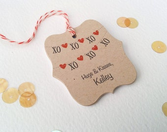 Valentine Gift Tags - XOXO Custom Favor Tag - Kids Valentine Tags - Birthday Favor Tag - Kraft Gift Tags - Customized Shower Tag