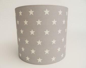 Light Grey Stars Fabric Lampshade