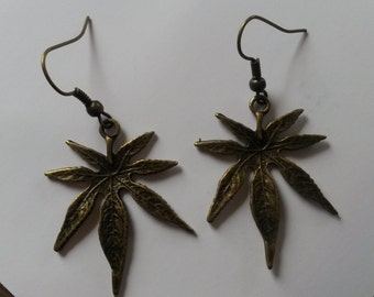 Brass large leaves earrings, brass earrings, nature earrings