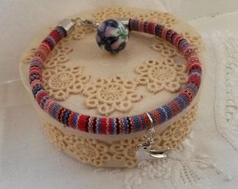 Aztec cord bracelet, colorful bracelet with pigeon charm