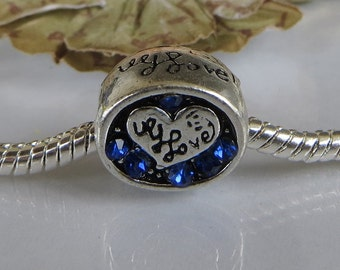 European Charm Bead For All Large Hole Charm Bracelet And Necklace Chain. Heart withLove in Blue Stones, Summer Collection 11x10mm