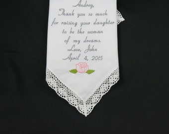 Wedding Gift to Mother of the bride from Groom personalized embroidered hankerchief handkerchief custom Hanky Hankies Napa Embroidery