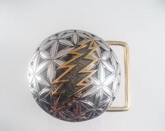 Grateful Dead, Sterling Silver Flower of Life Belt Buckle with Brass 13 Point Bolt (large), Sacred Geometry