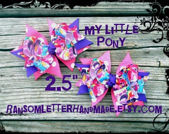 Toddler My Little Pony Hair bows Pigtail Bow Set Pink and Purple