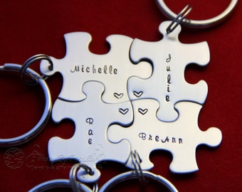 Puzzle Piece Keychain 15/each Unique Personalized Gift for friends/BF Hand Stamped Add as many pieces as needed and they all fit together!