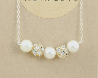 Evie Swarovski Pearl & Crystal Bridal Necklace Pendant
