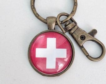 Switzerland Flag Key Chain Bag Charm KC116