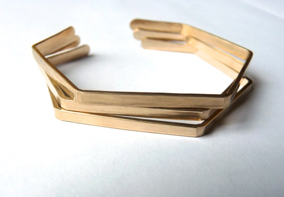 HEXAGON Bracelet - Bronze, Sterling Silver, or Gold Geometric Bracelet - Hammered Gold Cuff Bracelet