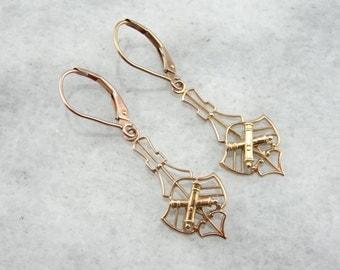 Art Nouveau Filigree Rose Gold Drop Earrings with Collegiate Theme 4ELVPW-D