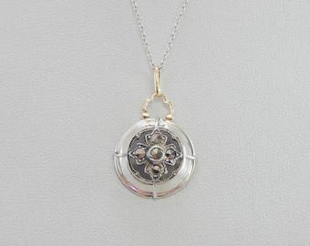 Marcasites Silver Disc Pendant  XYVA6Z-N