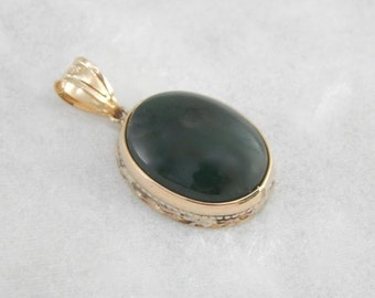 Dark Forest Green Oval Jade Pendant  VDJ33Z-N