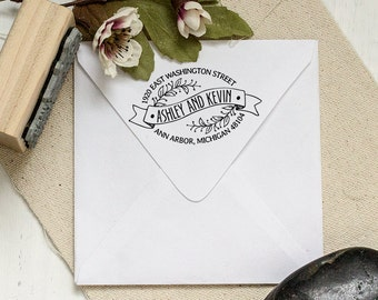 Return address stamp housewarming gift script by sayabellstamps - Best return gifts for housewarming ...