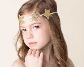 Glitter star headband - newborn through adult - gold star headband