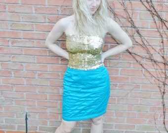 SALE Vintage Retro 90s Blue Sci Fi Club Kid Space Grunge Quilted A-Line Pencil Skirt