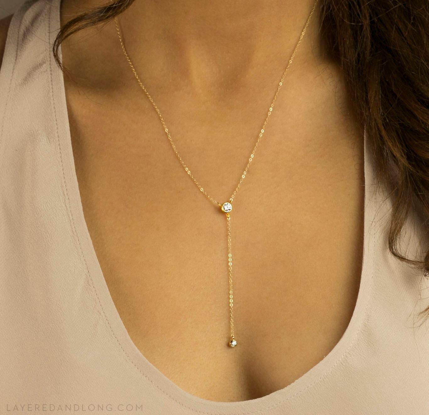 y shaped necklace diamond dainty y drop necklace by. Black Bedroom Furniture Sets. Home Design Ideas